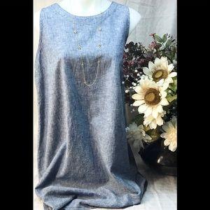 Blue sleeveless linen blend shift dress Sonoma XL